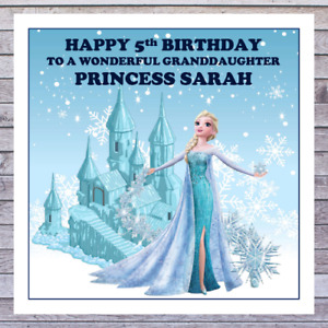 KIDS FROZEN BIRTHDAY CARDS - personalised with any AGE RELATIONSHIP & NAME