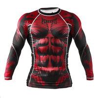 Mens Peresvit Silver Force Beast MMA BJJ Rash Guard Red Grappling Long Sleeve
