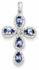White Gold Plated Created Blue Sapphire Religious Cross Pendant Necklace 16-18