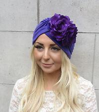 Purple Rose Flower Turban Headpiece 1950s Rockabilly 1940s Floral Hair Vtg 2180