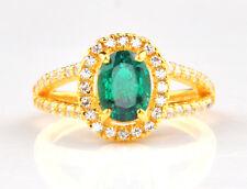14KT Yellow Gold 1.55 Carat Natural Green Emerald EGL Certified Diamond Ring