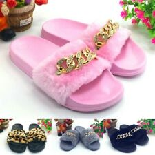 Women Slides Furry Slipper Diamond Chain Flip Flop Cotton Fabric Indoor Basic