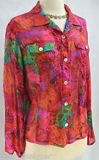 Chicos 100% silk button Top shirt blouse semi sheer multi color Chiffon SZ 1 S M