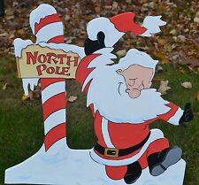 Lawn stake Santa Clause at the North Pole Christmas decorations yard art
