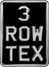 5x7 3 row black and silver pressed number plate text motorcycle metal aluminum