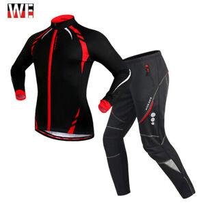 Winter Cycling Sets Warm Jacket & Trousers Clothing Fleece Thermal Jersey Wear