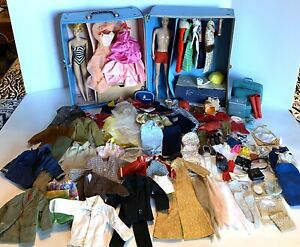 Vintage Barbie and Ken Dolls•Case with Clothes-TM Tags and accessories•Huge lot
