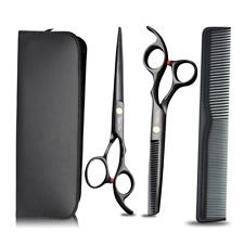 Nero puro Acciaio inossidabile Forbici Professionali Barbiere Parrucchiere 3 pcs