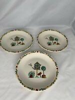Thomson Pottery birdhouse Pattern Salad Dessert Plates  set 3