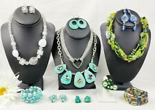 Vintage Modern Jewelry Lot Necklaces Earrings Chunky Glass Beads Stone Statement