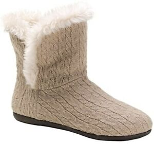 Vionic Shoes Womens 7 Taupe Cable Cozy Kari Slipper Boot Orthaheel Booties