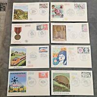 FRANCE FDC Lot 8 Enveloppes Année 1974 1er Jour - Collection Timbre Poste