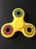 yellow multi ring triple finger hand spinner fidget spinning toy steel bearing