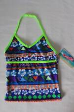 NEW Girls Tankini Top Swimsuit Size Medium 7 - 8 Blue Green Floral Halter Top