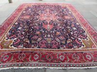 Vintage Hand Made Traditional Rug Oriental Wool Red Blue Large Carpet 383x302cm