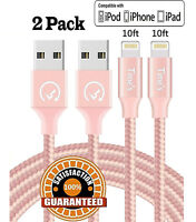 2 Pack 10 Ft Lightning Cable Heavy Duty iPhone 8 7 6S plus Charger Charging Cord