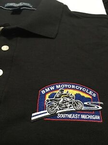 BMW Genuine Motorcycle Embroidered  Motorrad Men Polo Shirt SE Mich-Black Small