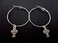 Hoop & Celtic Cross Earrings. New. A Pair Of Silver Plated 35Mm
