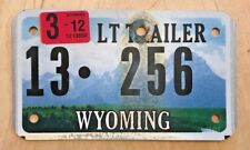 "WYOMING CYCLE SIZE LIGHT  SMALL TRAILER LICENSE PLATE "" 13 256 "" WY"