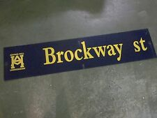 "Vintage Arthur Hill / Brockway St Street Sign 54"" X 12"" Gold Lettering On Blue"