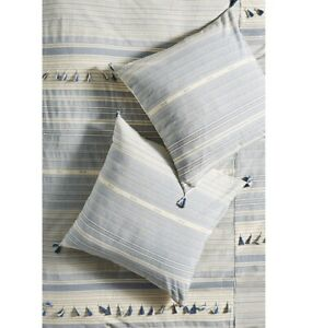 "NEW Anthropologie Woven Mariella Euro Sham 26"" Square 100% Cotton Tassels Boho"