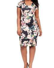 Adrianna Papell Zip Back Floral Scuba Knit Sheath Dress Size 22W