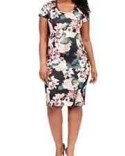 Adrianna Papell Zip Back Floral Scuba Knit Sheath Dress Size 16W