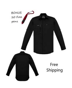 Mens Streetworx L/S Stretch Work/casual Shirt - Black - PLUS 10 free pens