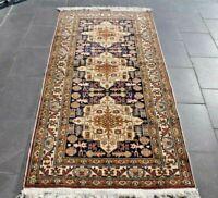 Anatolian Hand Knotted Kayseri Ethnic Runner Rug Oriental Vintage Carpet 3x7 ft