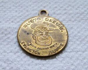 "Vintage RUST-OLEUM Scotsman ""Rigid Economy Mon"" Evanston Ill Brass Key Tag Fob"