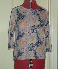 M&S Collection size 12 pink/multi floral jersey 3/4 sleeve lace insert top