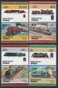 1984 TUVALU - NUKULAELAE LOCOMOTIVES 2nd SERIES SET OF 8 FINE MINT MNH (LOW)