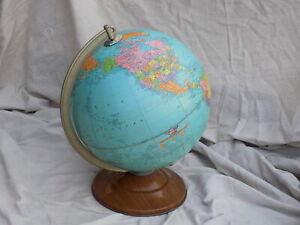 "1950's Replogle Reference 12"" Globe Round Metal Base"