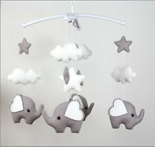 Handmade Monochrome Elephant Baby Cot Mobile Felt Baby Boy Nursery Decoration