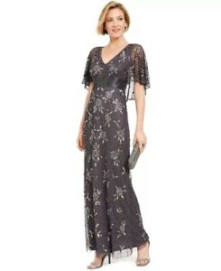 Adrianna Papell Women's Beaded Capelet Gown Charcoal Size 2