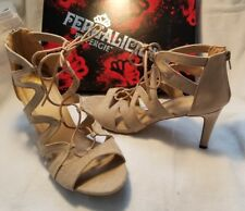 Fergalicious Fergie Heartthrob Tan Leather Open Peep Toe High Heel Shoe 9.5 $60