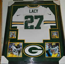 EDDIE LACY SIGNED JERSEY FRAMED AUTO SUEDE MATTING PSA DNA + LACY HOLO PACKERS W