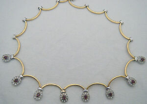 FABULOUS 18ct Gold Ruby Diamond Necklace 750 Collar Chain
