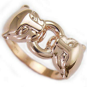 For Man or Woman  14K SOLID ROSE GOLD DUAL PANTHER CAT HEAD RING  6 to 14.
