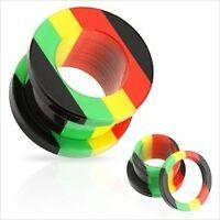 1 PAIR Jamaican Rasta Acrylic-Screw Fit Ear Plugs-Tunnels-Gauges