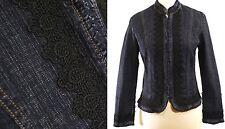 Simon Chang Denim Jacket Mock Neck - Black Crochet Lace Trim - sz 8