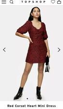 Topshop Red Corset Heart Mini Dress UK8