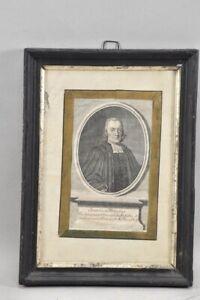 k65r08- Kupferstich, Porträt Johannes Frikius?, 17. Jh., Rahmen teils versilbert