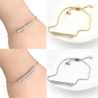 Luxury Crystal Pave Bar Slider Bracelet Charm Adjustable Drawstring Tightening