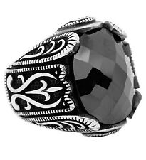 Bague Chevalière Homme Argent massif 925 Serti zircon noir 15 gr Chavin