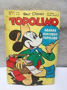 Topolino N.25 Vol 5 March 1951 Excellent + Sticker Walt Disney Mickey Mouse