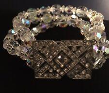 Vintage Aurora Borealis Crystal Triple Strand Bracelet Rhinestone Clasp Bridal