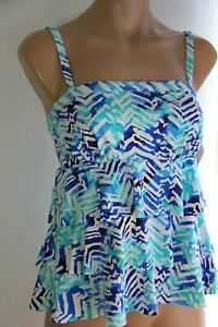 Real Bodies Real Solutions by Island Escape Swimsuit Tankini Top Sz 12 MUL Blue