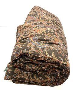 RALPH LAUREN Queen Full Comforter Brown Bohemian Paisley Made In Italy