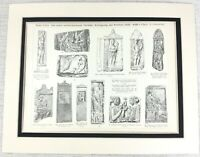 1897 Antico Stampa Greco Architettonico Intagliato Stone Sollievo Sculture